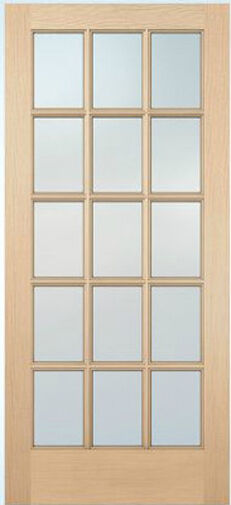 15 lite hemlock stain grade solid exterior entry or patio for Solid french doors exterior