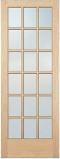 18 lite hemlock stain grade solid exterior entry or patio for Solid french doors exterior
