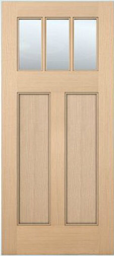 Exterior entry craftsman flat panel hemlock solid stain for Flat solid wood door