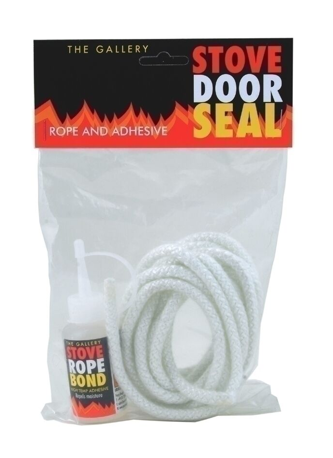 12mm x 2 5m pd white stove door seal rope kit and 50ml for 14mm stove door rope