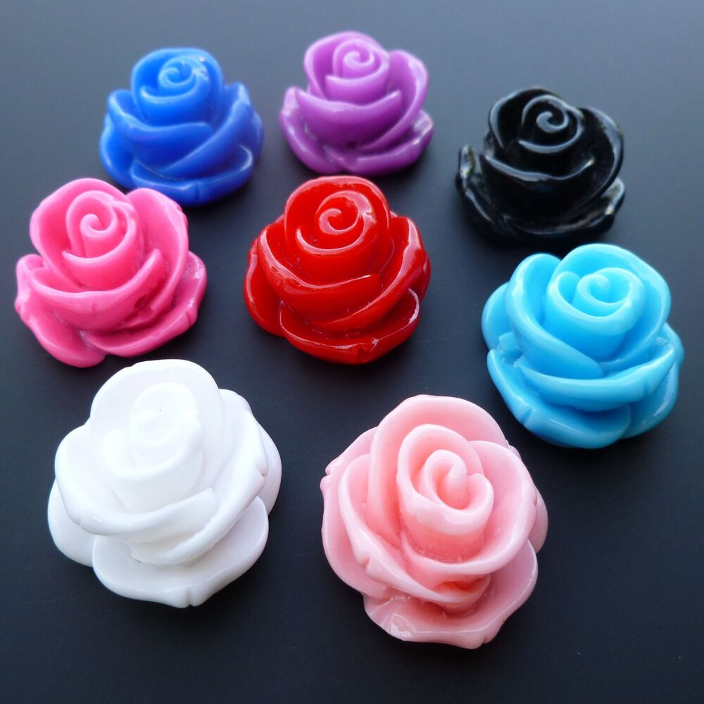 COLOURFUL FLAT BACK RESIN ROSE FLOWER BEADS 23mm JEWELLERY