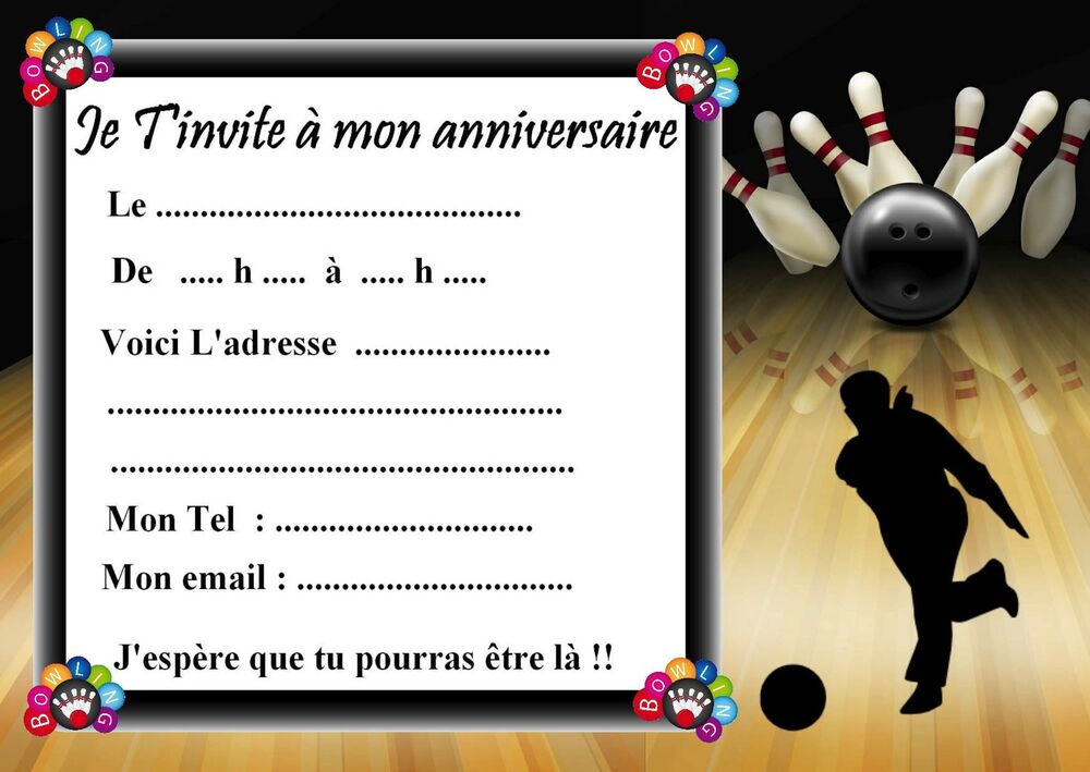 5 cartes invitation anniversaire bowling 01 d 39 autres en vente en boutique ebay. Black Bedroom Furniture Sets. Home Design Ideas