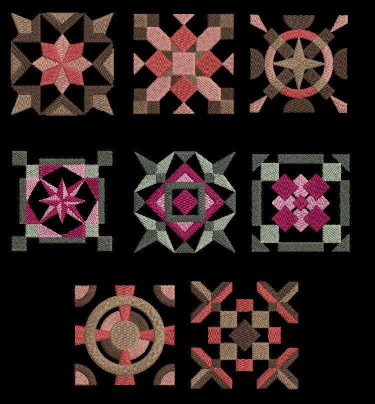 Embroidery Quilt Block Designs : 16 Geometrical Borders & Quilt Blocks Machine Embroidery Designs CD 4x4 Brother eBay