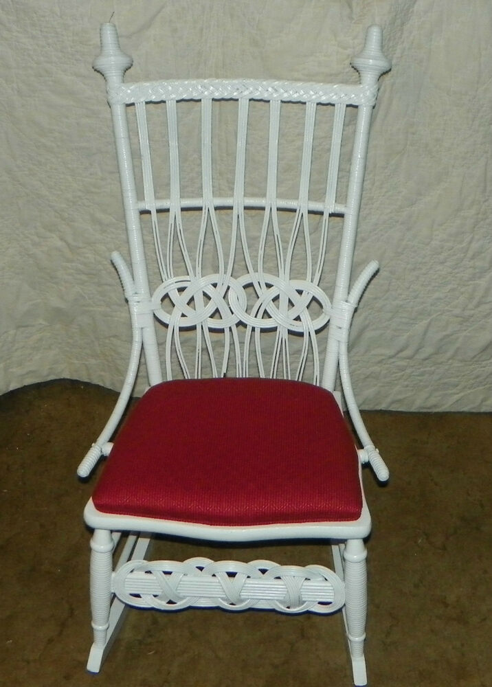 white wicker rocker rocking chair r153 ebay. Black Bedroom Furniture Sets. Home Design Ideas