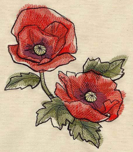 Painted Poppies Stunning Set Of 2 Bath Hand Towels