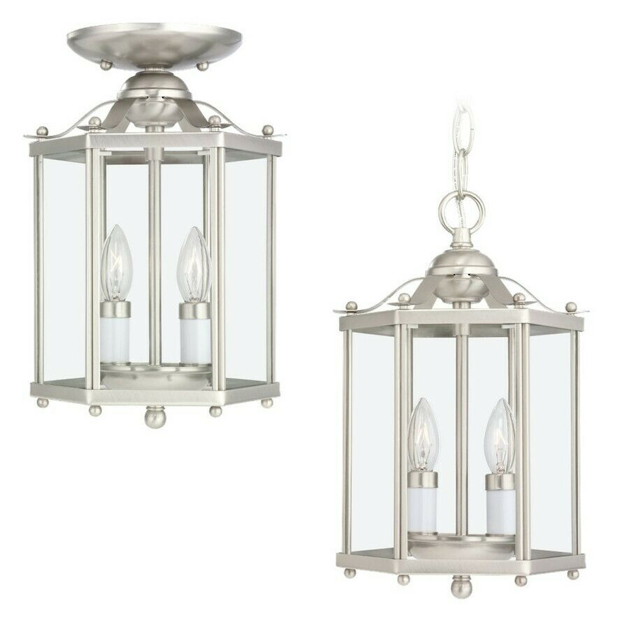 Brushed Nickel Foyer Lighting : Sea gull lighting two light hall foyer fixture in brushed
