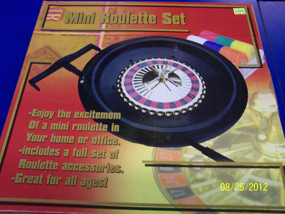 mini casino roulette wheel and mat gaming set