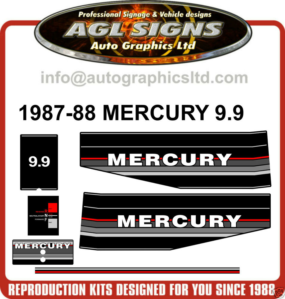 1987 1988 mercury 9 9 hp outboard motor decal set ebay for Mercury 9 hp outboard motor