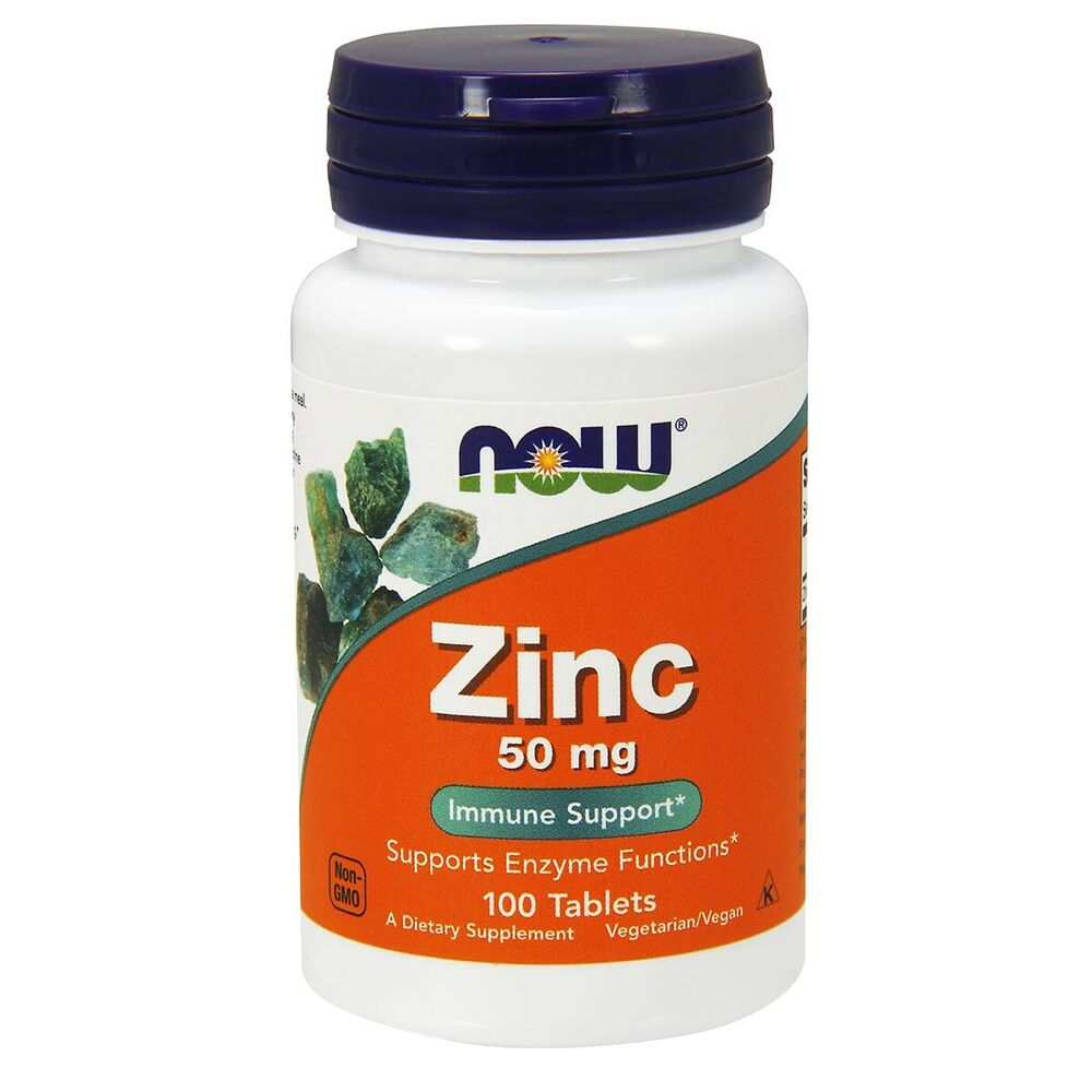 NOW FOODS Vegetarian Formula Zinc 50 mg 100 Tabs Made In ...