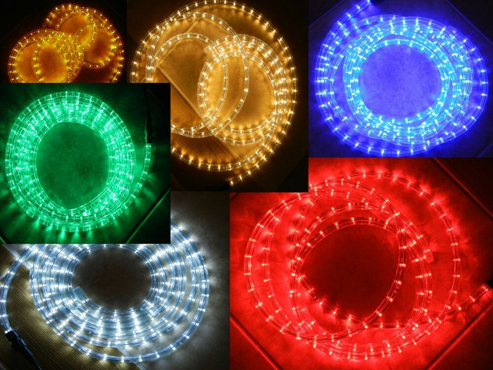 Led Rope Lights Chasing 3 Wire Round Multi Function 110v White Blue Green Red Ebay