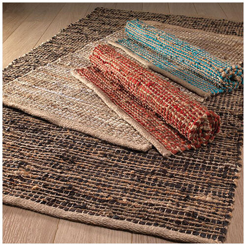 Large Rag Rugs For Sale Uk: JUTE LEATHER Rag Rug 90 X 150 Cm Brown Cream Red Blue