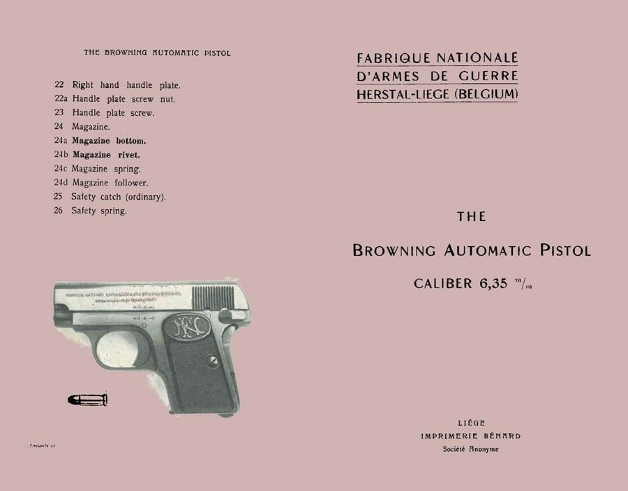 Browning C 1920s  Baby  Fn Auto Pistol 6 35 Manual