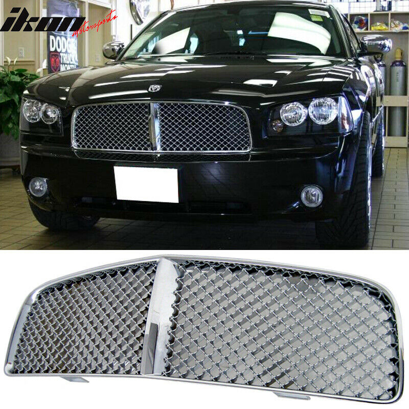 05 10 dodge charger chrome mesh front hood grille ebay. Black Bedroom Furniture Sets. Home Design Ideas