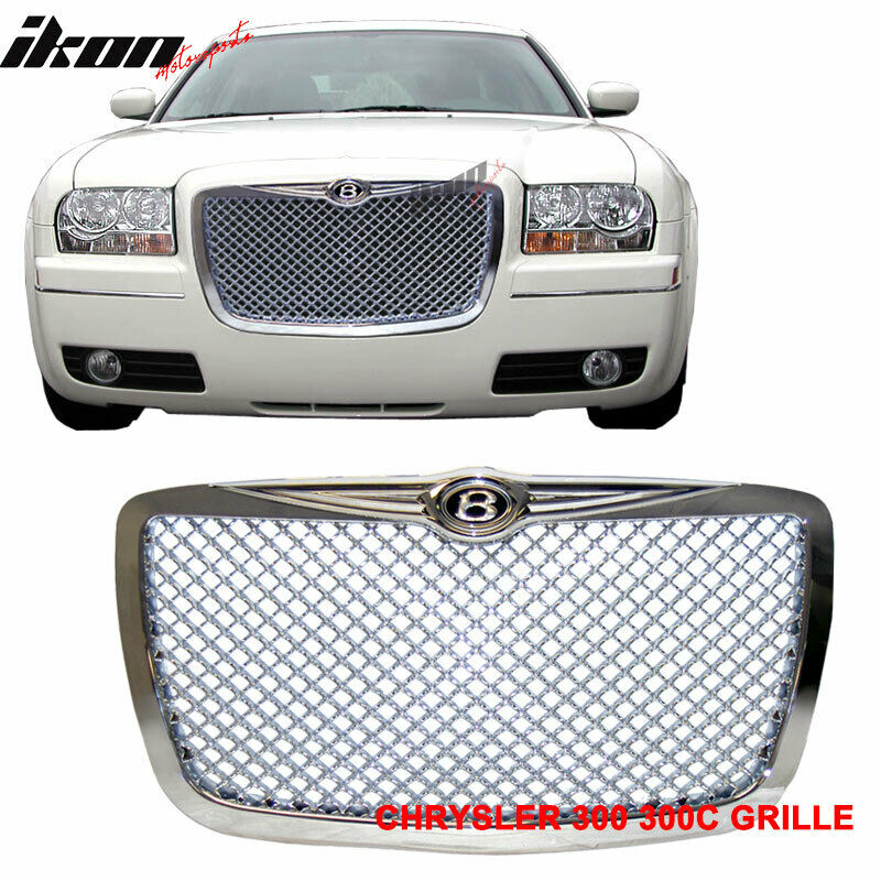 05 10 chrysler 300c 300c chrome mesh grille b style front. Black Bedroom Furniture Sets. Home Design Ideas