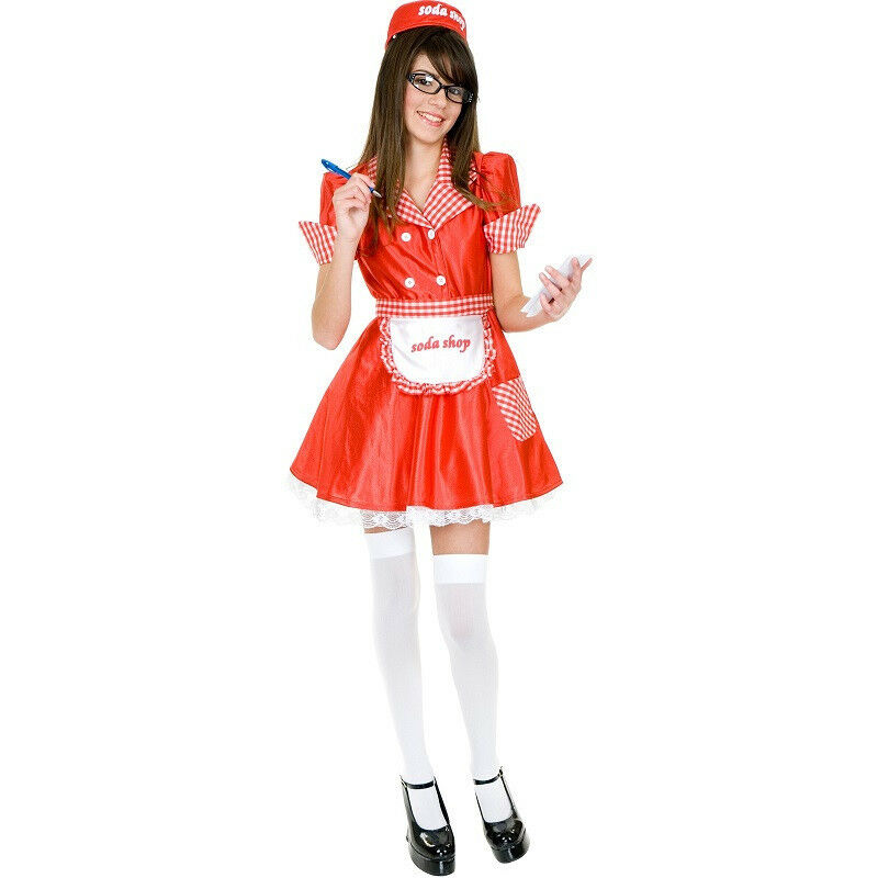 Soda Shop Waitress 50u0026#39;s Diner Retro Red Fancy Dress Up Halloween Adult Costume | eBay