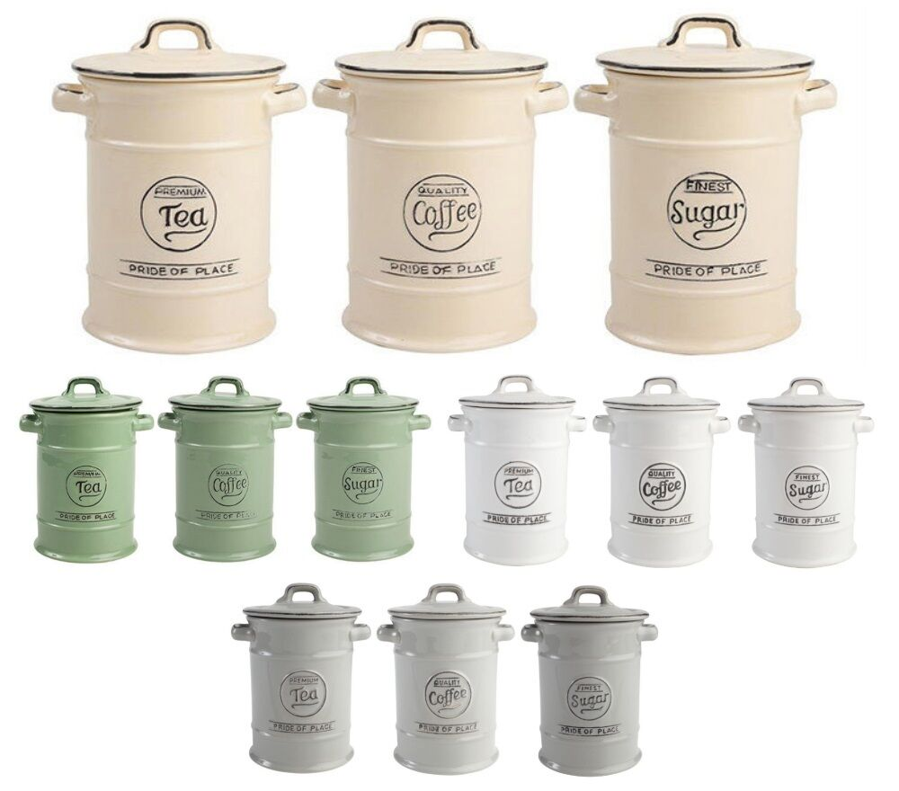 Cream Kitchen Storage Jars: T&G Woodwares Ceramic Pride Of Place Tea Coffee Or Sugar