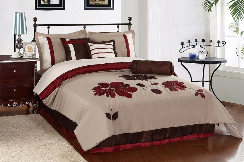 7pcs Burgundy Brown Applique Flower Comforter Set Bed In A