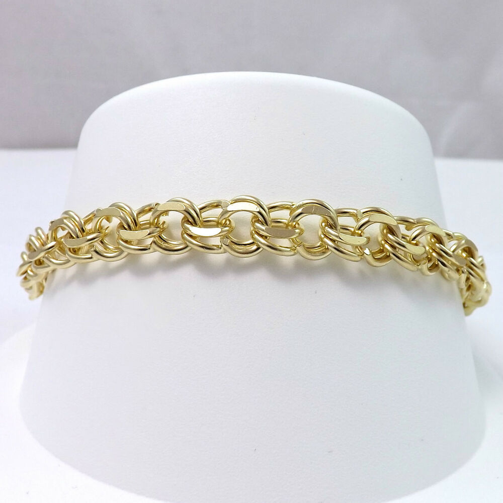 14k Yellow Gold Charm Bracelet: 14K YELLOW GOLD SOLID DOUBLE LINK WIRE CHARM BRACELET 7.25