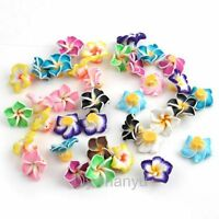 Wholesale Flower Fimo Polymer Clay Spacer Charm Beads 15mm Multi Colors choose