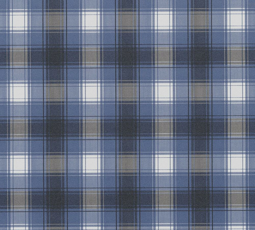 Blue White Black Plaid Checks Checkered Designer Wall
