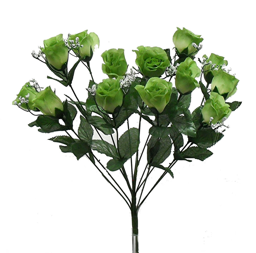 How Long Should Bridal Bouquet Stems Be : Long stem roses sage green silk wedding flowers