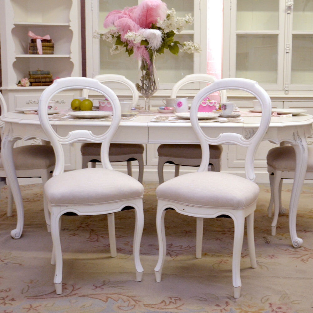 shabby chic dining chairs shabby cottage chic vintage style set 6 dining chairs linen white ebay 4993