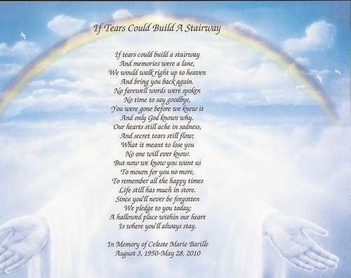 personalized memorial poem if tears could build a stairway loss of loved one ebay. Black Bedroom Furniture Sets. Home Design Ideas