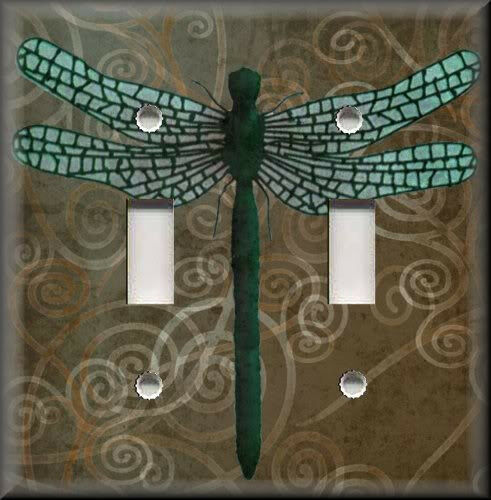 Light Switch Plate Cover Dragonfly With Brown Swirl