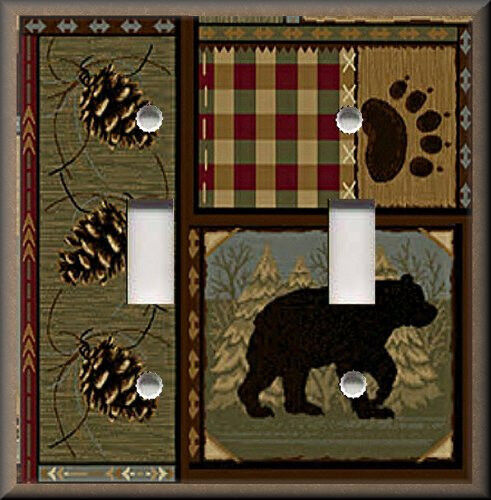 Light switch plate cover rustic bear cabin home decor for Rustic bear home decor