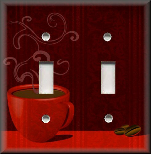 Decorative Light Switch Plate Cover Red Coffee Cafe
