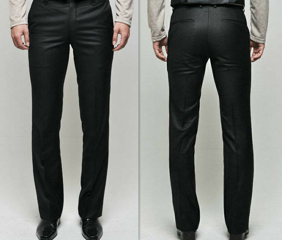 New Menu0026#39;s Slim Fit Casual Formal Straight Dress Pants Smooth Trousers US XS S M | EBay