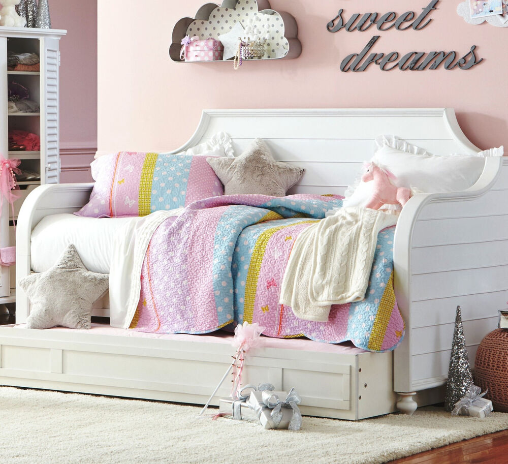 polka dots twin single quilt set girls butterfly flower pink blue comforter ebay. Black Bedroom Furniture Sets. Home Design Ideas