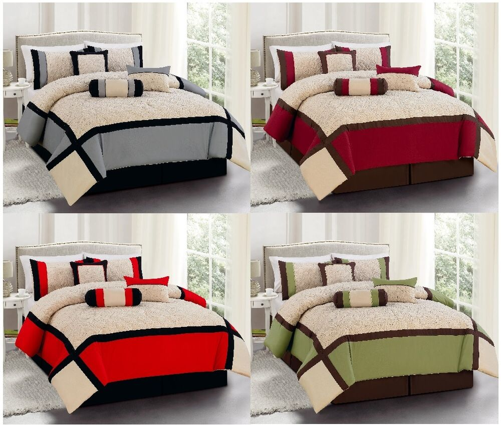 Pc luxury king queen bed in a bag comforter set sage red burgundy