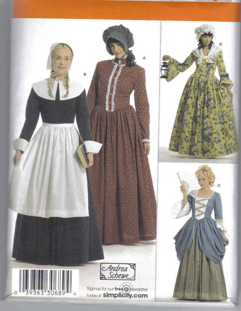 Pattern NEW Colonial DRESS 6-12 & 14-22 apron hat scarf ...
