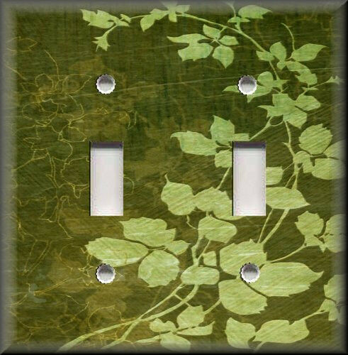 Light Switch Plate Cover Floral Leaves Green Modern