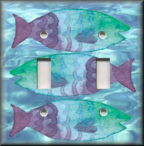 Light Switch Plate Cover Blue Green And Purple Fish