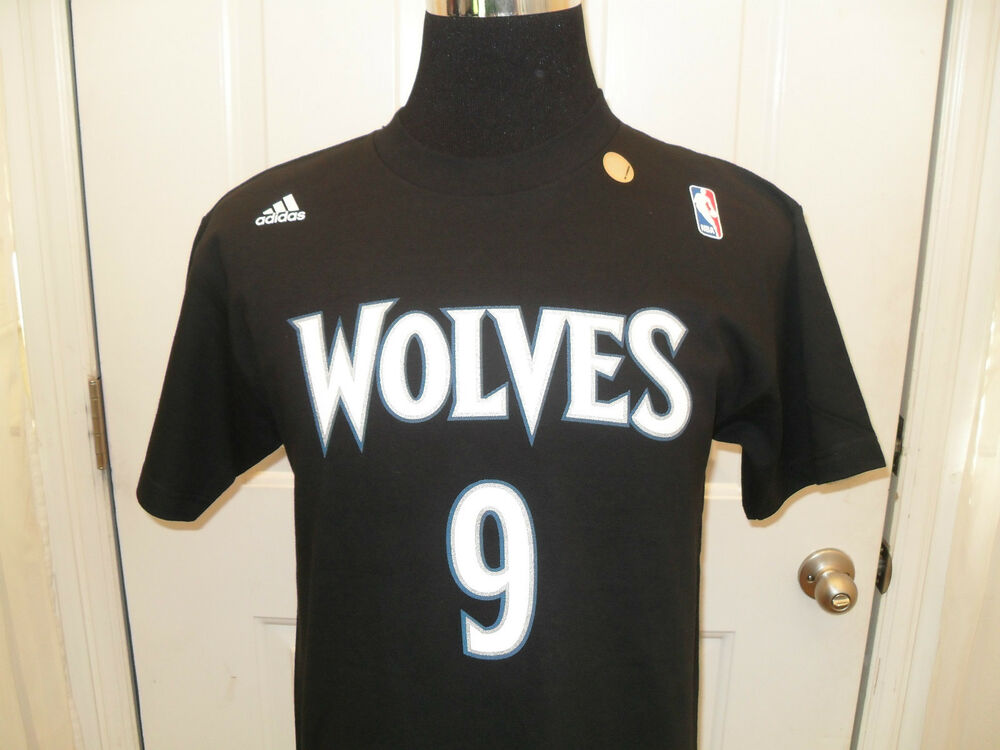 Details about New Ricky Rubio  9 Adidas Black Name   Number Minnesota  Timberwolves T-Shirt. 49404ca19
