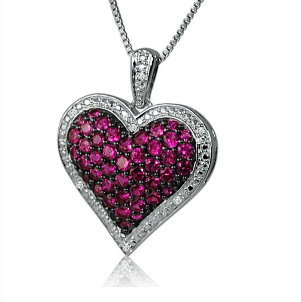 1ct Created Ruby And Diamond Heart Pendant In Sterling
