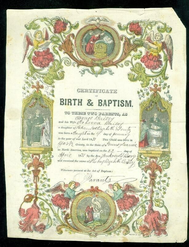 "8"" X 10"" Birth & Baptism Certificate 1871 Pennsylvania Handcolored"