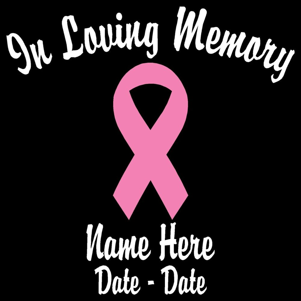 "In Loving Memory w Pink Ribbon Personalized Decal 5 5""H 