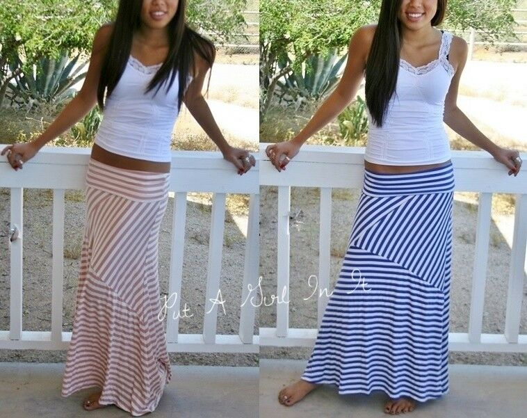 ROYAL BLUE FOLD OVER WAIST LONG STRIPED MAXI KNIT SKIRT NAUTICAL ...