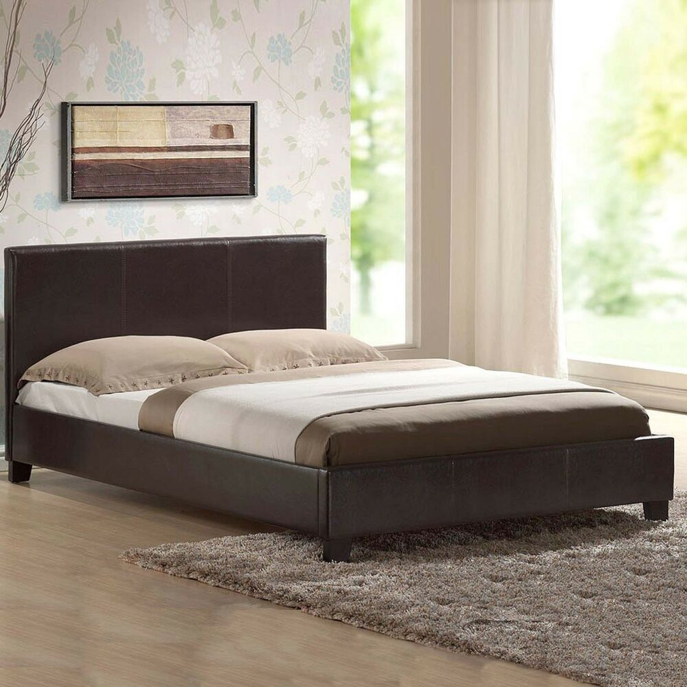 Leather Bed Double King Black Brown White With Memory Foam