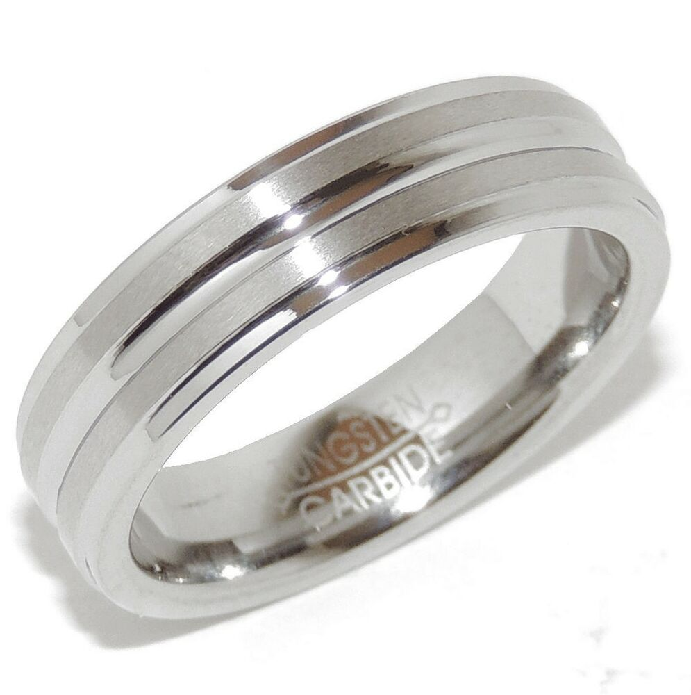 carbide middle grooved mens wedding ring us size 9 10 11 12 13 ebay