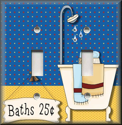 Blue And Yellow Bathroom Decor: Light Switch Plate Cover