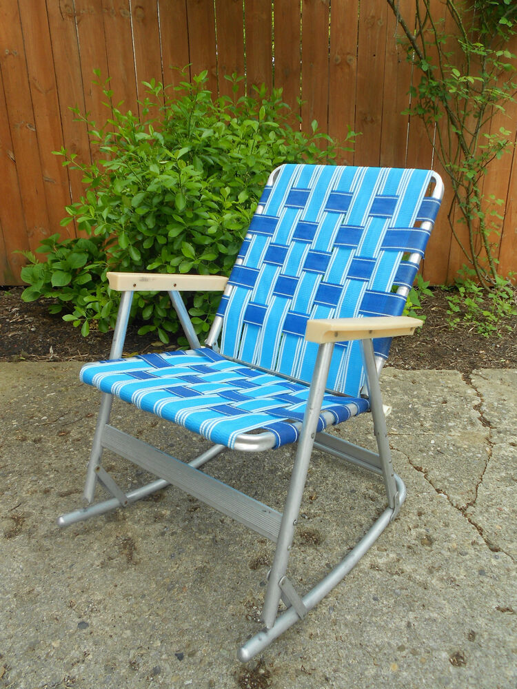 Vintage Webbed Tubular Aluminum Rocker Rocking Lawn Chair Patio 1 of 2 Foldin