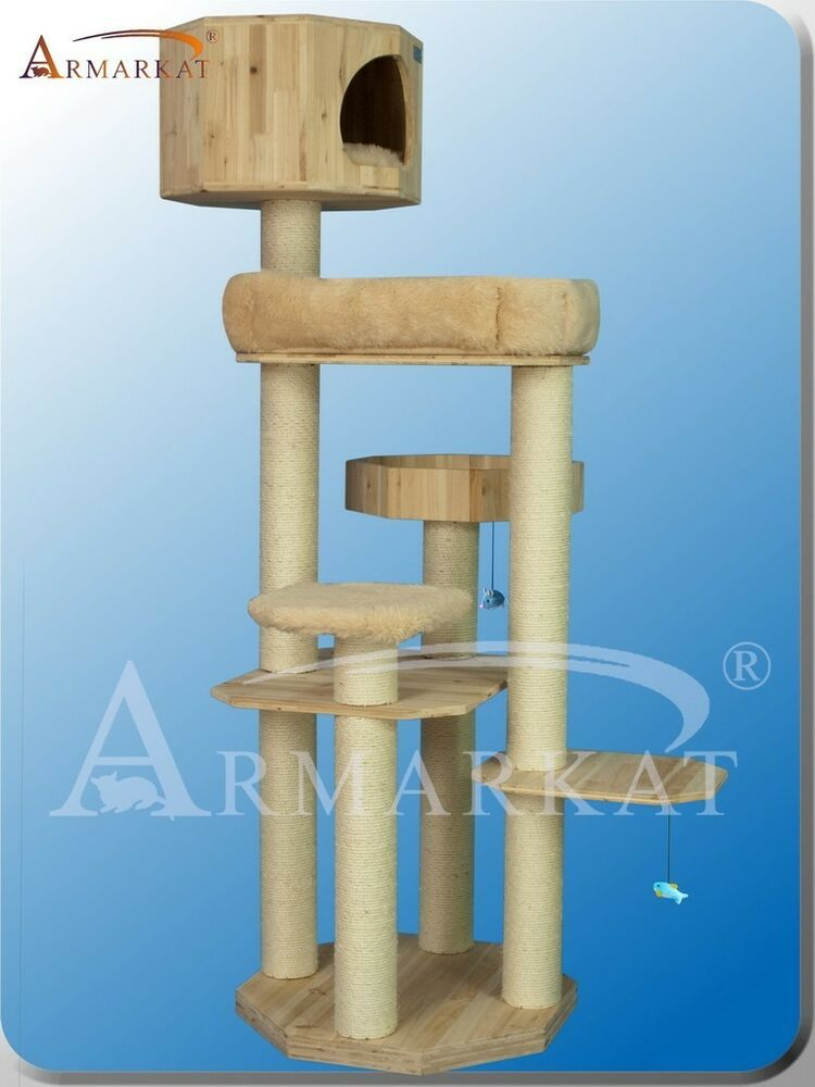 Solid Wood Armarkat Cat Tree Furniture Condo S7207 No Carpet Exlarge Perches Ebay