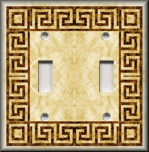 Light Switch Plate Cover Greek Key Amber Bathroom Home Decor