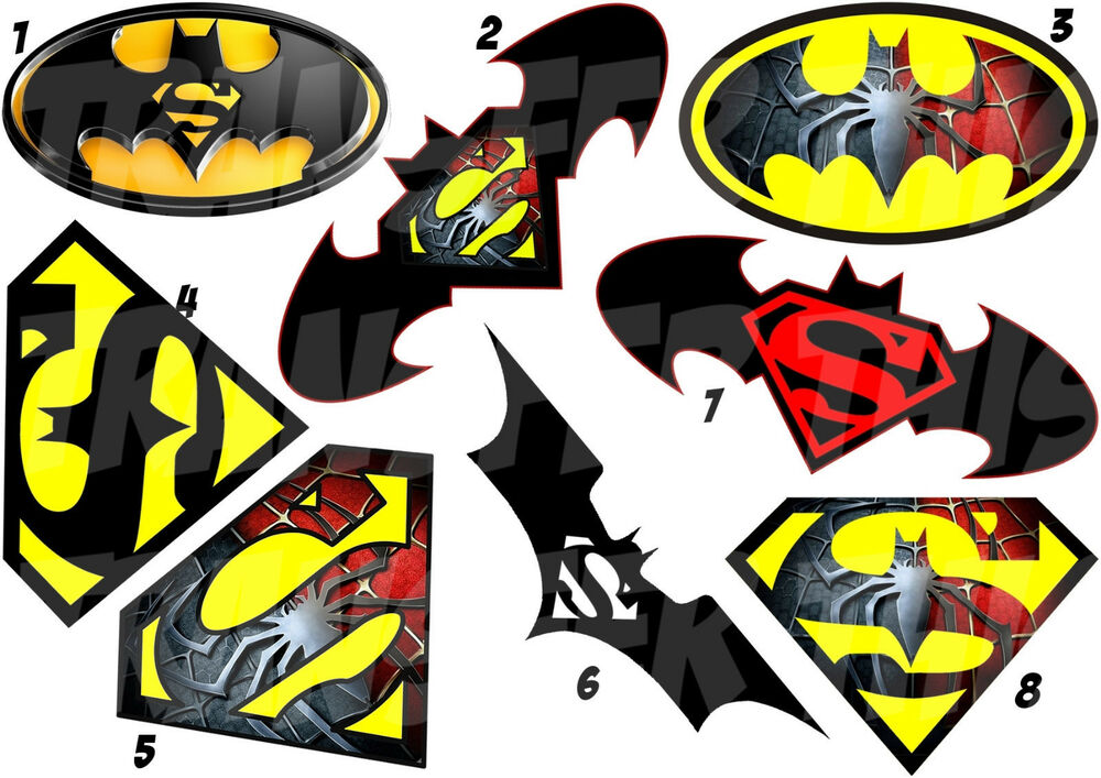 logo batman superman sticker autocollant ou transfert textile vetement t shirt ebay. Black Bedroom Furniture Sets. Home Design Ideas