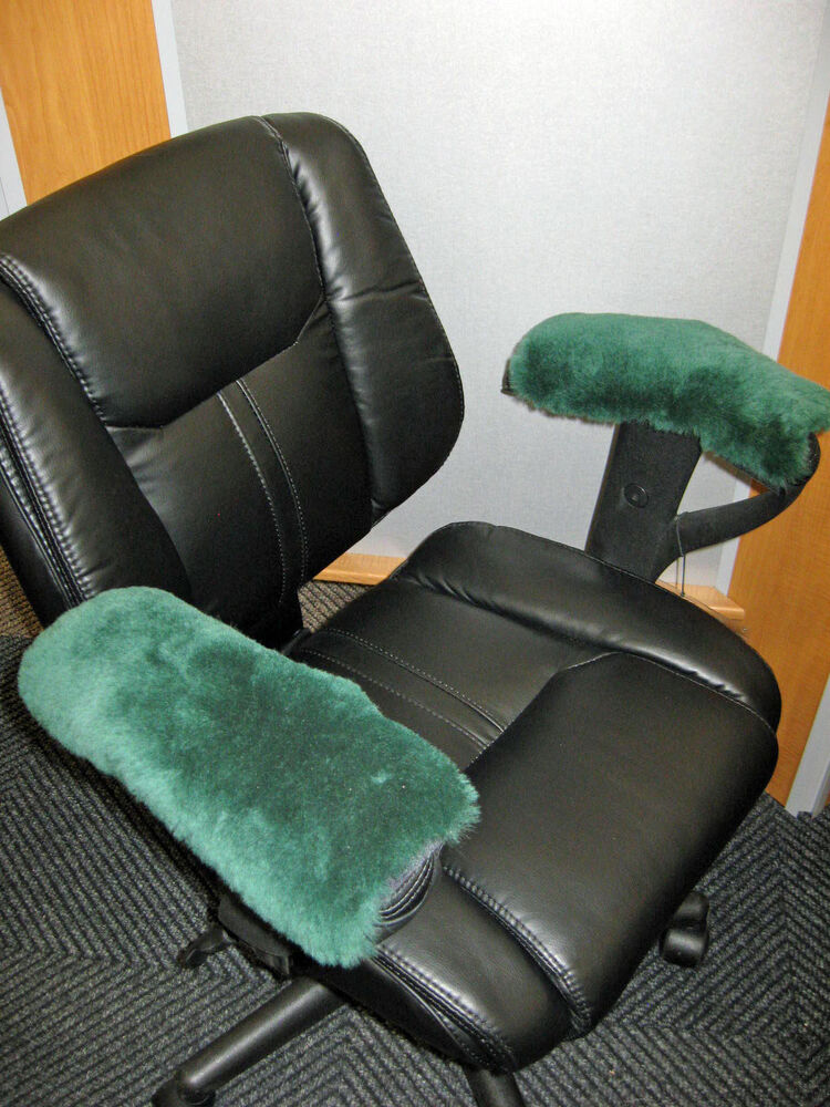 Green Real Merino Sheepskin Arm Rest Covers Pad Office