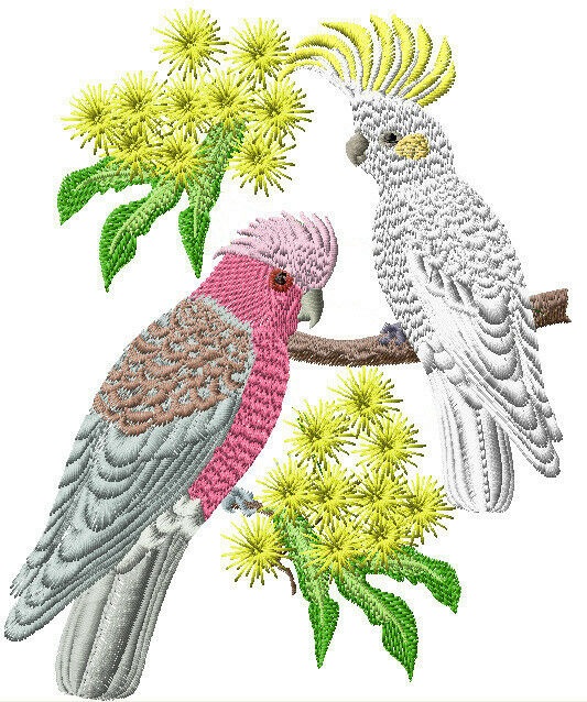 COCKATOO AND GALAH SET OF 2 BATH HAND TOWELS EMBROIDERED